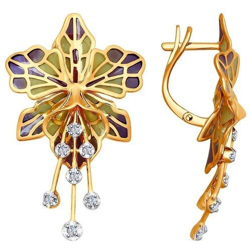 SOKOLOV Серьги Цветы с эмалью и бриллиантами из красного золота 6029006 серьги цветы с фианитами и эмалью из красного золота