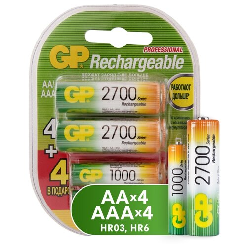 Фото - Аккумулятор Ni-Mh GP Rechargeable 2700 Series AA + Rechargeable 1000 Series AAA 8 шт блистер аккумулятор ni mh 1000 ма·ч gp rechargeable 1000 series aaa usb светильник 4 шт блистер