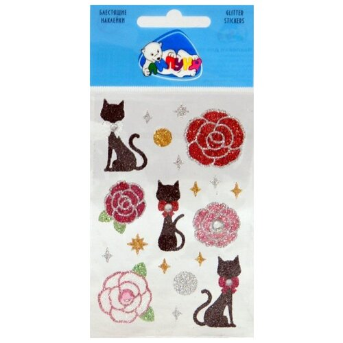 Липуня Набор наклеек Блестящие розы и кошки (GS001)