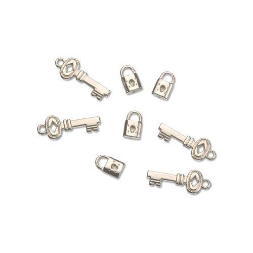 Набор декоративных элементов Ключ и замок 10 x 15 мм, 13 x 35 мм металл, Efco, Украшения и декоративные элементы  - купить со скидкой