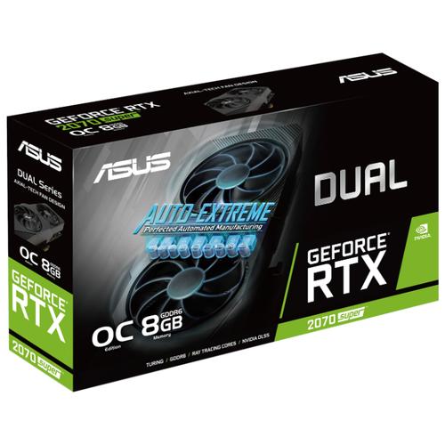Видеокарта ASUS DUAL GeForce RTX 2070 SUPER 1605MHz PCI-E 3.0 8192MB 14000MHz 256 bit 3xDisplayPort HDMI HDCP EVO OC Retail видеокарта asus nvidia geforce rtx 2080 super turbo evo pci e 8192mb gddr6 256 bit retail turbo rtx2080s 8g evo