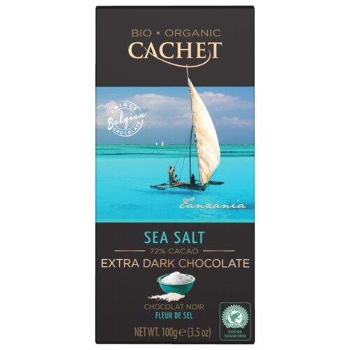 Шоколад Cachet горький с морской солью, 72%, 100 г