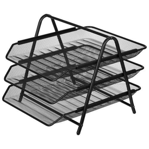 Купить Лоток горизонтальный для бумаги Attache 688768 (3 отд.) черный, Лотки для бумаги