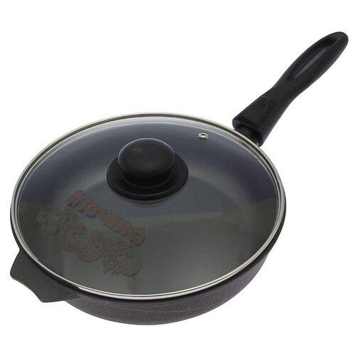 Сковорода Мечта Престиж 24 см со съемной ручкой и крышкой с крышкой, съемная ручка, черный