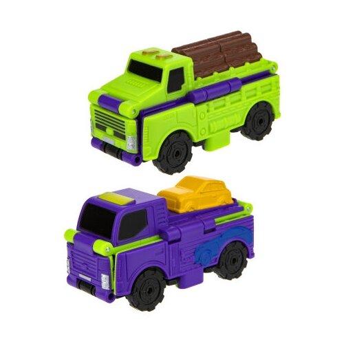 Купить Машинка 1 TOY Transcar Double 2 в 1: Лесовоз/Автовоз (Т18283) 8 см зеленый/фиолетовый, Машинки и техника