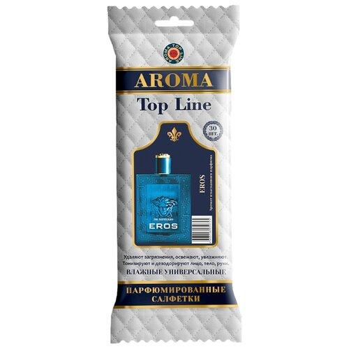 Влажные салфетки AROMA TOP LINE универсальные парфюмированные Versace Eros for men №19, 30 шт.