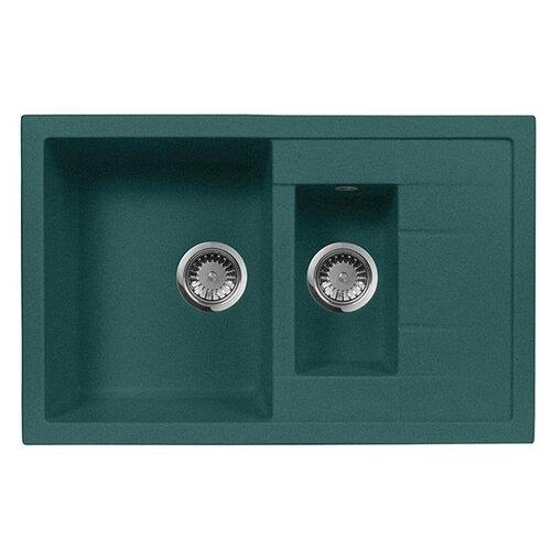 цена на Врезная кухонная мойка 78 см А-Гранит M-21K M-21K 305 зеленый