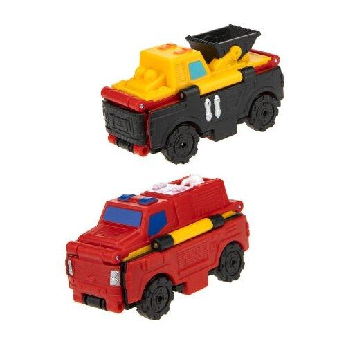 Купить Машинка 1 TOY Transcar Double 2 в 1: Погрузчик/Пожарная машина (Т18286) 8 см желтый/черный/красный, Машинки и техника