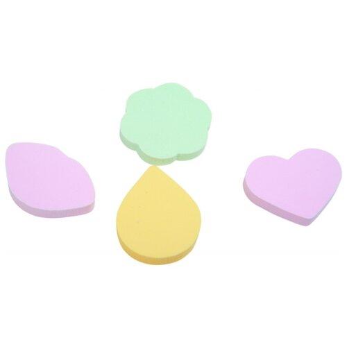Набор спонжей Dewal Beauty SP-05, 4 шт. зеленый/розовый/желтый
