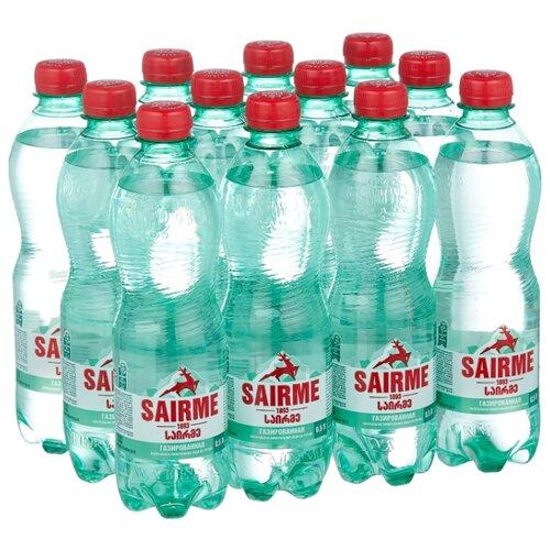 Вода минеральная лечебно-столовая Sairme газированная ПЭТ, 12 шт. по 0.5 л вода минеральная природная питьевая лечебно столовая липецкая газированная стекло 12 шт по 0 5 л