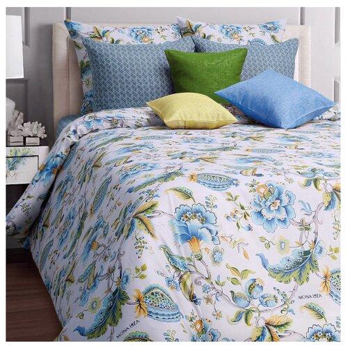 цена Постельное белье 1.5-спальное Mona Liza Nensy 50х70 см, бязь белый/голубой онлайн в 2017 году