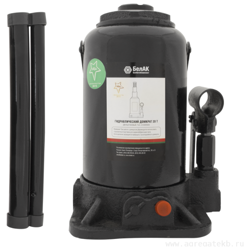 Домкрат бутылочный гидравлический БелАвтоКомплект БАК.20049 (20 т) черный домкрат бутылочный гидравлический белавтокомплект бак 10039 2 т черный
