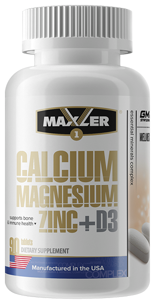 Минерально-витаминный комплекс Maxler Calcium Magnesium Zinc + D3 (90 таблеток)