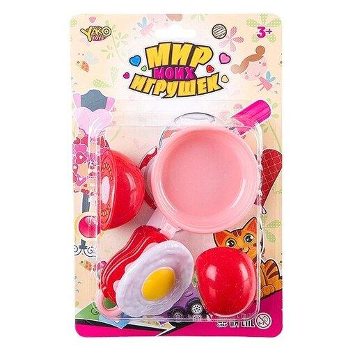 Фото - Набор продуктов с посудой Yako Мир моих Игрушек Д88714 розовый/красный набор машин yako мир моих игрушек m7558 1 белый