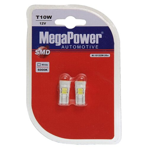 Фото - Лампа автомобильная светодиодная MegaPower 10122W-2бл 12V W5W (T10) 12V 10W 2 шт. 2pcs t10 w5w 80w cree xqb chip led hid