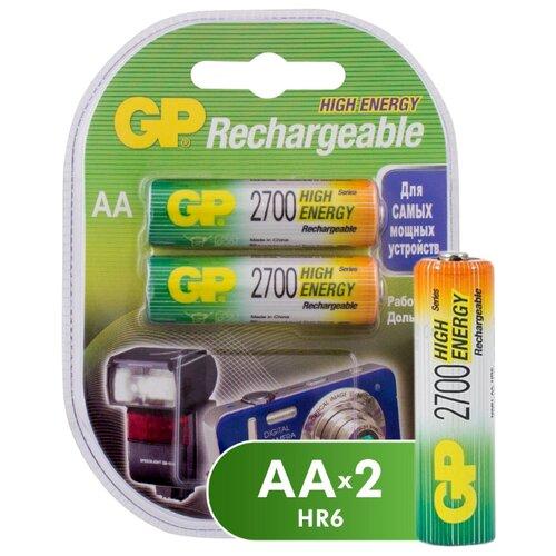 Аккумулятор Ni-Mh 2700 мА·ч GP Rechargeable 2700 Series AA 2 шт блистер аккумулятор ni mh 2700 ма·ч эра c0038458 2 шт блистер