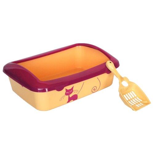 Туалет-лоток для кошек Шурум-бурум 1КУТ00043 40.5х28.5х14 см желтый/малиновый