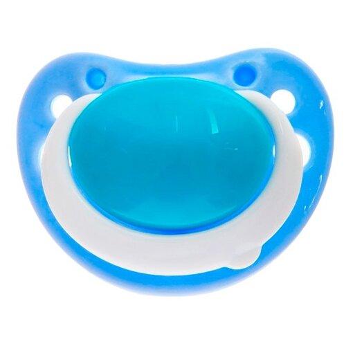 Купить Пустышка силиконовая ортодонтическая Крошка Я 3-6 м (1 шт) голубой, Пустышки и аксессуары