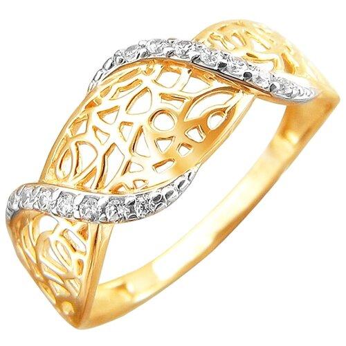 Эстет Кольцо с 14 фианитами из красного золота 01К1110031, размер 17.5