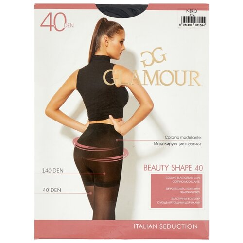 Колготки Glamour Beauty Shape 40 den, размер 4-L, nero (черный) колготки glamour thin body 4 40 den черный