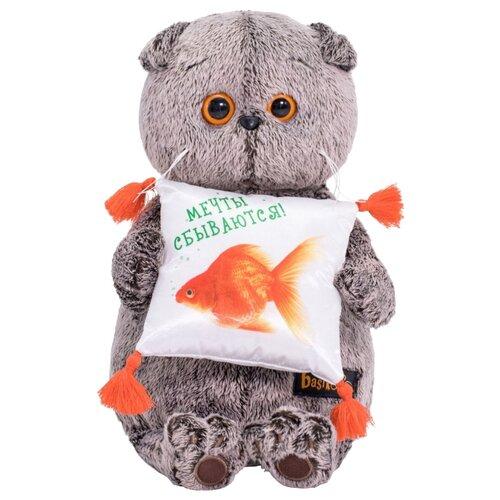 Купить Мягкая игрушка Basik&Co Кот Басик с подушкой Золотая рыбка 19 см, Мягкие игрушки