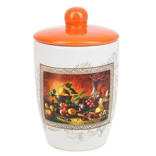 "Polystar Global Art Банка для сыпучих продуктов ""Севилья"" 550 мл белый/оранжевый"