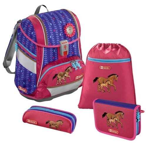 Step By Step Ранец-Рюкзак 2in1 Lucky Horses 4 предмета (1047668), розовый/ синий