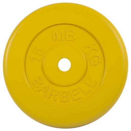 Диск MB Barbell Стандарт MB-PltC26 15 кг желтый диск mb barbell стандарт mb pltc26 10 кг зеленый