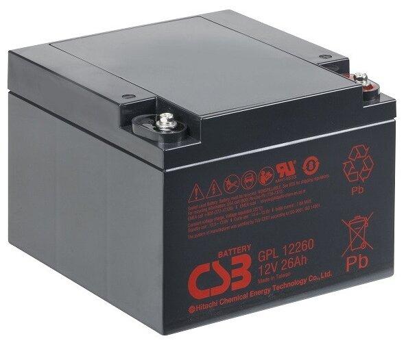 Аккумулятор CSB GPL-12260 (12В, 26Ач / 12V, 26Ah / вывод под болт М5)