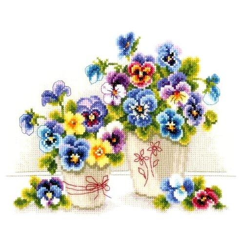 Купить Vervaco Набор для вышивания Анютины глазки в горшках 27 x 20 см (0146578-PN), Наборы для вышивания
