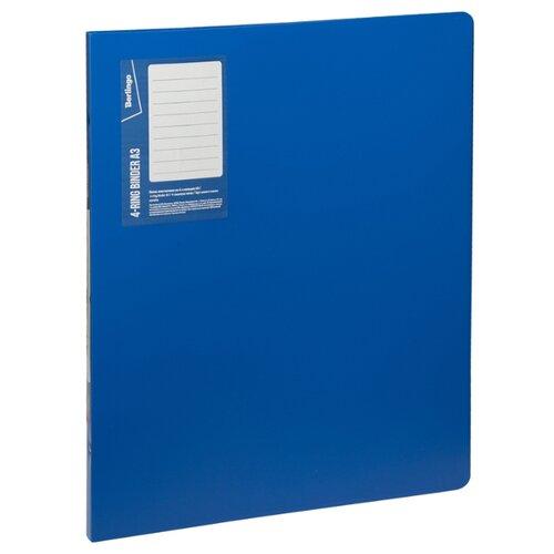 Купить Berlingo Папка на 4-х кольцах вертикальная Standard А3, пластик синий, Файлы и папки