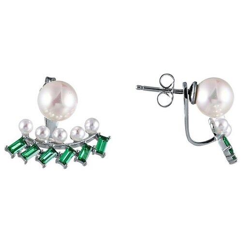 Фото - JV Серьги с жемчугом и фианитами из серебра OE01580G-SR-WM-001-WG jv серебряные серьги с жемчугом eph040 sr wm wg