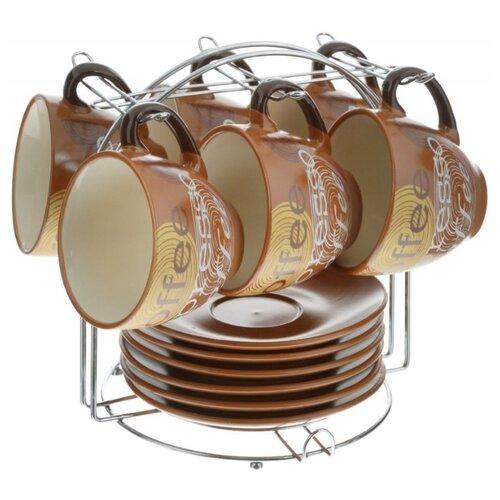 цена на Чайный сервиз Loraine 23537 13 предметов 220 мл светло-коричневый/желтый
