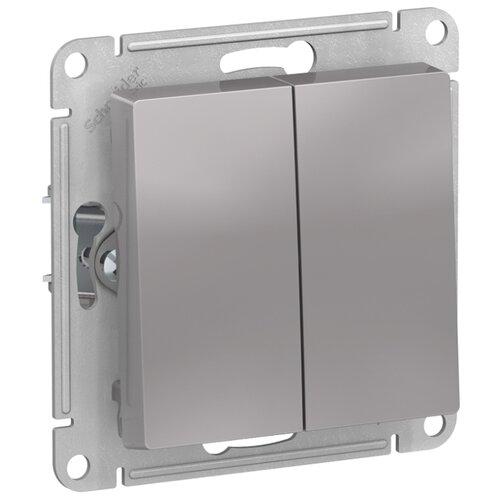 Выключатель 2х1-полюсный Schneider Electric ATN000351 AtlasDesign, 10 А, алюминиевый выключатель 1 полюсный schneider electric atn000211 atlasdesign 10 а бежевый