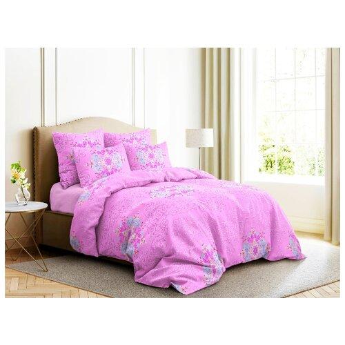 цена Постельное белье 2-спальное с евро простыней Ночь Нежна Витраж 70х70 см, бязь розовый онлайн в 2017 году