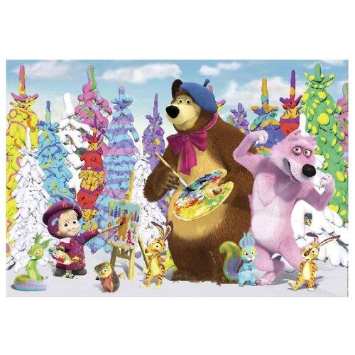Фотообои бумажные детские Симфония Картина маслом К- 138 Маша и Медведь 2.8х2м белый/голубой