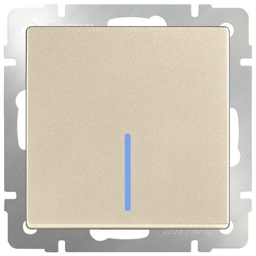 Выключатель 1-полюсный Werkel WL11-SW-1G-2W-LED,10А, шампань werkel выключатель одноклавишный проходной с подсветкой серебряный wl06 sw 1g 2w led 4690389053863