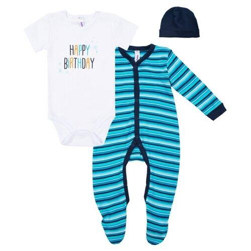 Купить Комплект одежды playToday размер 74, белый/синий/голубой, Комплекты