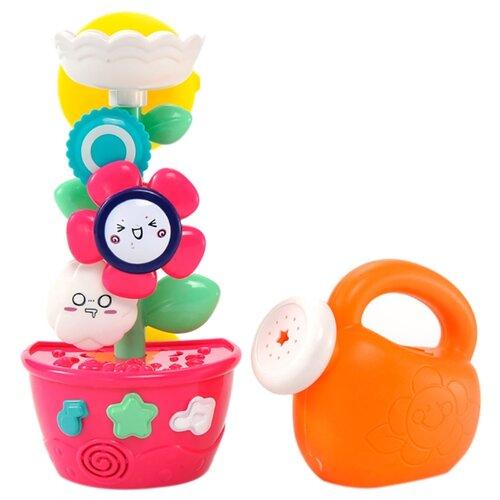 Набор для ванной YiQu Мельница-горка. Цветок в горшочке с лейкой (YQ8206) оранжевый/розовый