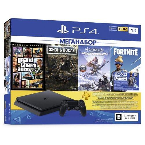 Игровая приставка Sony PlayStation 4 Slim 1 ТБ черный + Days Gone+GTA 5+Horizon Zero Dawn CE+Fortnite+PS Plus 3 месяца