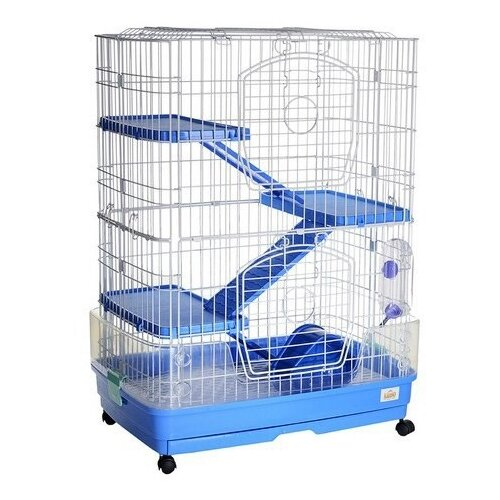 Фото - Клетка для грызунов, хорьков Kredo F12 68х46х92 см белый/синий клетка для грызунов kredo для хорьков 100х57х118 см 5 эт пласт поддон уком