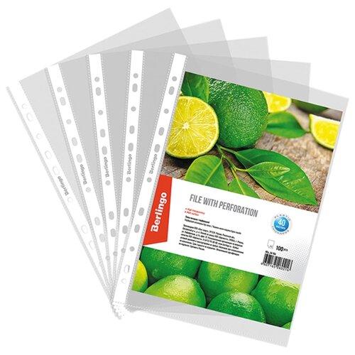 Купить Berlingo Папка-вкладыш А4 с перфорацией, 40 мкм, матовая, пластик, 100 штук в упаковке бесцветный, Файлы и папки