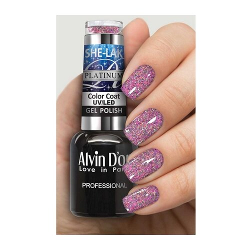 Гель-лак Alvin D'or She-Lak Platinum, 8 мл, оттенок 7309