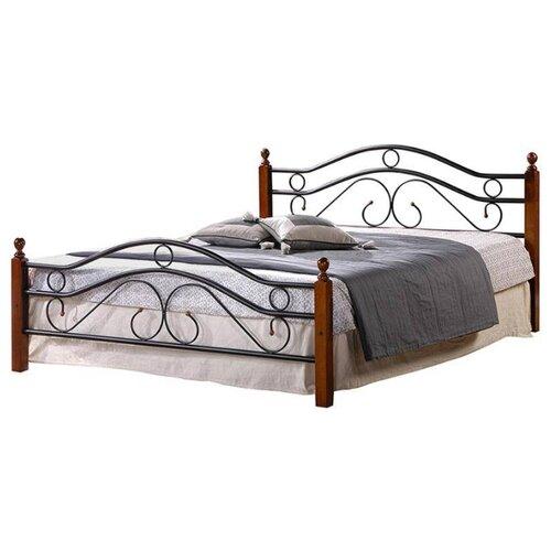 Кровать TetChair AT-803 двуспальная, размер (ДхШ): 210х144.5 см, спальное место (ДхШ): 200х140 см, каркас: массив дерева, цвет: черный/коричневый