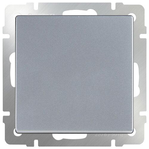 Выключатель 1-полюсный Werkel WL06-SW-1G-2W,10А, серебристый werkel выключатель одноклавишный проходной с подсветкой серебряный wl06 sw 1g 2w led 4690389053863