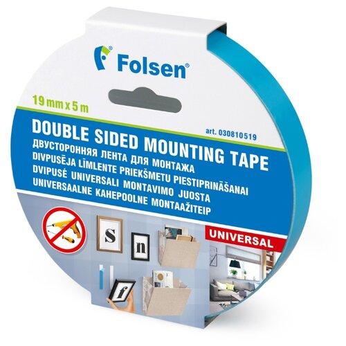Клейкая лента монтажная Folsen 30810519, 19 мм x 5 м клейкая лента универсальная folsen 51044850 48 мм x 50 м