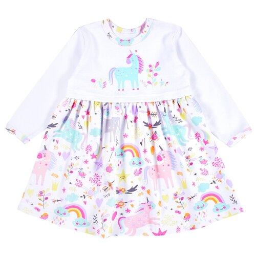 Платье Веселый Малыш Единорожка размер 92, белый/розовый