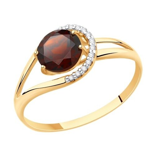 Diamant Кольцо из золота с гранатом и фианитами 51-310-00220-3, размер 17 diamant кольцо из золота с гранатом 51 310 00182 2 размер 17