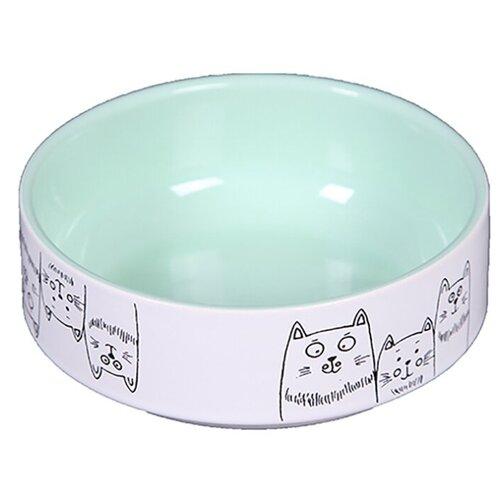 Миска Joy 3 кота керамическая для кошек 380 мл зеленый