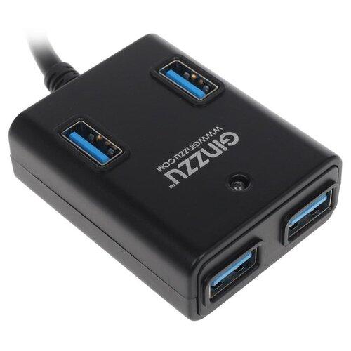 USB-концентратор Ginzzu GR-384UAB, разъемов: 4, черный